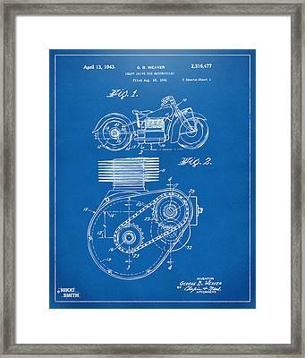 1941 Indian Motorcycle Patent Artwork - Blueprint Framed Print