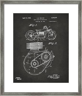 1941 Indian Motorcycle Patent Artwork - Gray Framed Print by Nikki Marie Smith