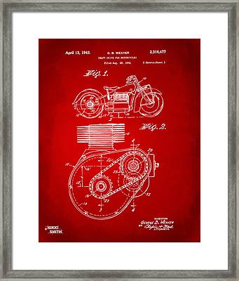 1941 Indian Motorcycle Patent Artwork - Red Framed Print