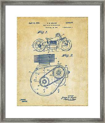 1941 Indian Motorcycle Patent Artwork - Vintage Framed Print by Nikki Marie Smith