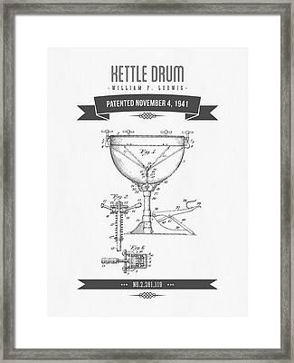 1941 Kettle Drum Patent Drawing Framed Print by Aged Pixel