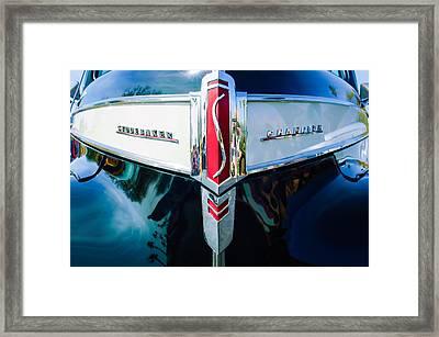 1941 Studebaker Champion Grille Emblem -0053bw Framed Print by Jill Reger