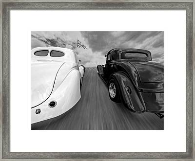 1941 Willys Vs 1934 Ford Coupe In Black And White Framed Print by Gill Billington