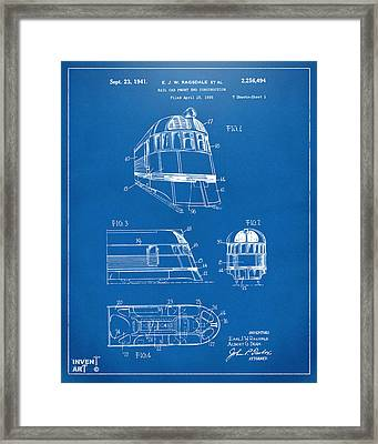 1941 Zephyr Train Patent Blueprint Framed Print by Nikki Marie Smith