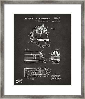 1941 Zephyr Train Patent Gray Framed Print by Nikki Marie Smith