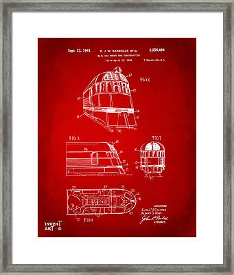 1941 Zephyr Train Patent Red Framed Print by Nikki Marie Smith