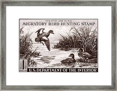 1942 American Bird Hunting Stamp Framed Print by Historic Image