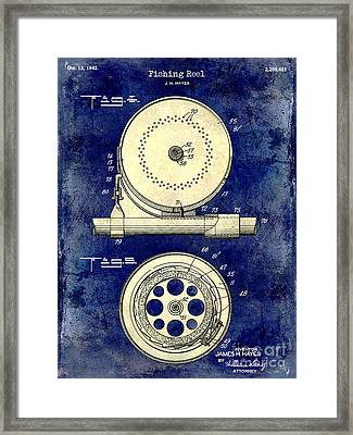 1942 Fishing Reel Patent Drawing 2 Tone Blue Framed Print by Jon Neidert