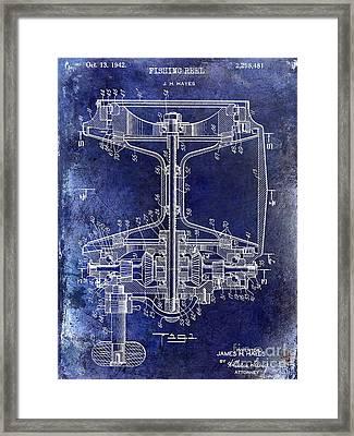 1942 Fishing Reel Patent Drawing Blue Framed Print by Jon Neidert