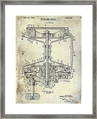1942 Fishing Reel Patent Drawing Framed Print