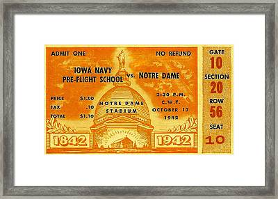 1942 Football Ticket Notre Dame Vs Iowa Navy Pre-flight Framed Print