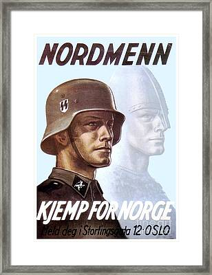 1943 - German Waffen Ss Recruitment Poster - Norway - Color Framed Print