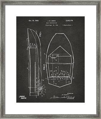1943 Chris Craft Boat Patent Artwork - Gray Framed Print by Nikki Marie Smith