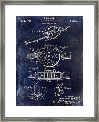 1943 Fishing Reel Patent Drawing Blue Framed Print