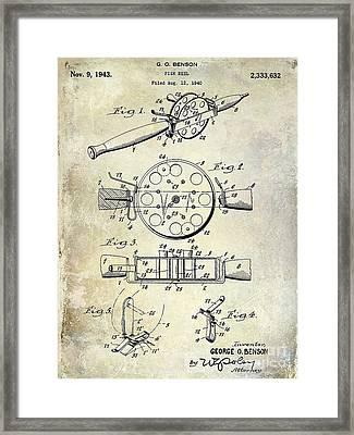 1943 Fishing Reel Patent Drawing Framed Print