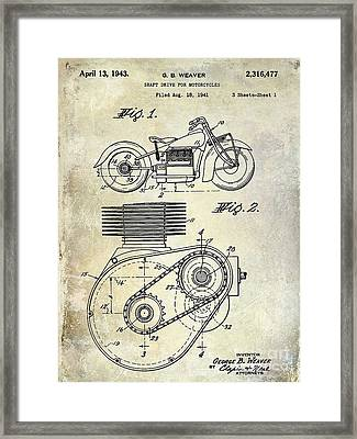 1943 Indian Motorcycle Patent Drawing Framed Print