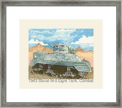 1943 Stuart M-5 Light Tank Combat Framed Print by Jack Pumphrey