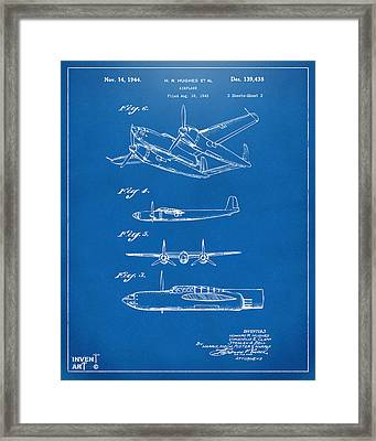 1944 Howard Hughes Airplane Patent Artwork 2 Blueprint Framed Print