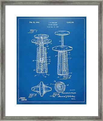 1944 Wine Corkscrew Patent Artwork - Blueprint Framed Print