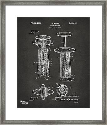 1944 Wine Corkscrew Patent Artwork - Gray Framed Print by Nikki Marie Smith