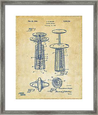 1944 Wine Corkscrew Patent Artwork - Vintage Framed Print by Nikki Marie Smith