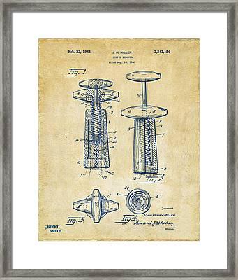 1944 Wine Corkscrew Patent Artwork - Vintage Framed Print