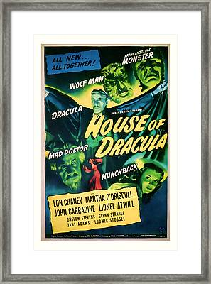 1945 House Of Dracula Vintage Movie Art Framed Print by Presented By American Classic Art