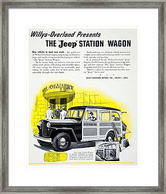 1946 - Willys Overland Jeep Station Wagon Advertisement - Color Framed Print