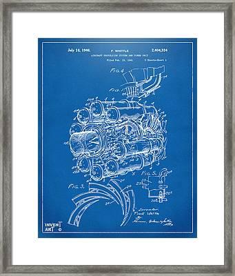 1946 Jet Aircraft Propulsion Patent Artwork - Blueprint Framed Print by Nikki Marie Smith