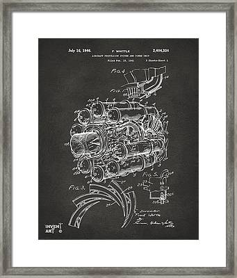1946 Jet Aircraft Propulsion Patent Artwork - Gray Framed Print by Nikki Marie Smith