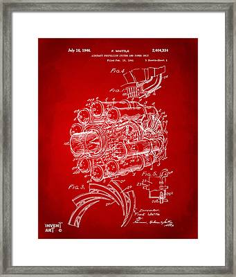 1946 Jet Aircraft Propulsion Patent Artwork - Red Framed Print by Nikki Marie Smith