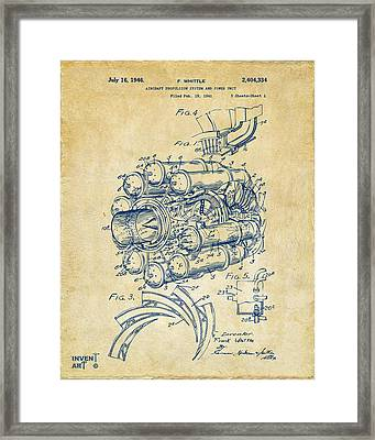 1946 Jet Aircraft Propulsion Patent Artwork - Vintage Framed Print by Nikki Marie Smith
