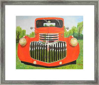 1946 Red Chevy Truck Framed Print