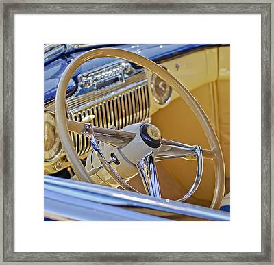 1947 Cadillac 62 Steering Wheel Framed Print by Jill Reger