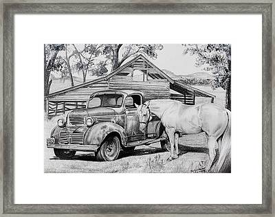 1947 Dodge Pick Up And Codi Framed Print by Carolyn Valcourt