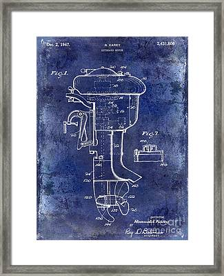 1947 Outboard Motor Patent Drawing Blue Framed Print