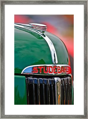 1947 Studebaker M5 Pickup Truck Grill Emblem - Hood Ornament Framed Print by Jill Reger