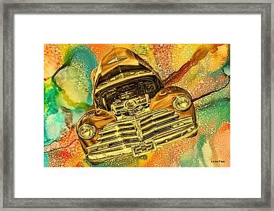 1948 Chev Gold Tie Dye Tilt Car Art Framed Print