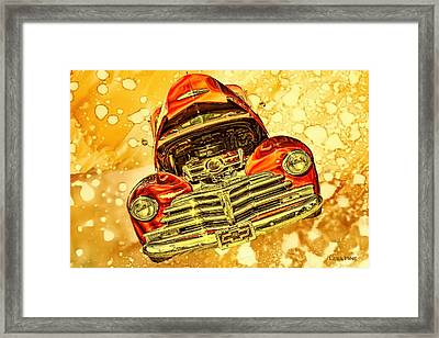1948 Chevy Gold Acid Art Framed Print by Lesa Fine