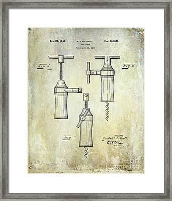1948 Corkscrew Patent Drawing Framed Print by Jon Neidert