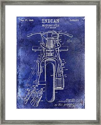 1948 Indian Motorcycle Patent Drawing Blue Framed Print by Jon Neidert