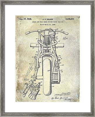 1948 Indian Motorcycle Patent Drawing Framed Print by Jon Neidert