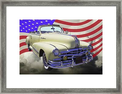 1948 Pontiac Silver Streak With American Flag Framed Print by Keith Webber Jr