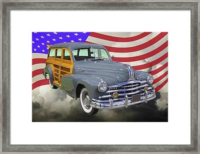 1948 Pontiac Silver Streak Woody And American Flag Framed Print by Keith Webber Jr