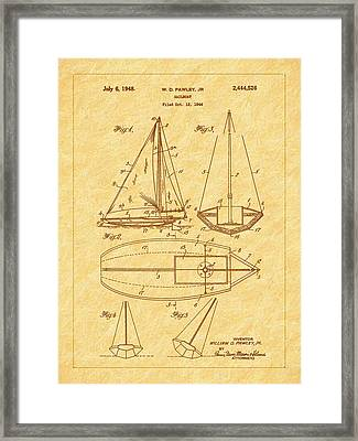 1948 Sailboat Patent Art Framed Print by Barry Jones