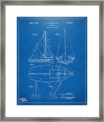 1948 Sailboat Patent Artwork - Blueprint Framed Print by Nikki Marie Smith