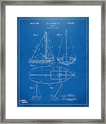 1948 Sailboat Patent Artwork - Blueprint Framed Print