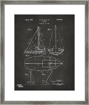 1948 Sailboat Patent Artwork - Gray Framed Print by Nikki Marie Smith