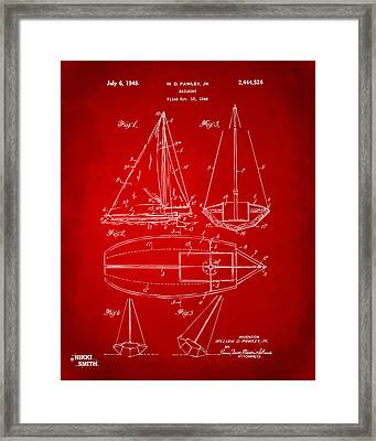 1948 Sailboat Patent Artwork - Red Framed Print by Nikki Marie Smith