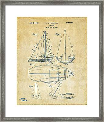 1948 Sailboat Patent Artwork - Vintage Framed Print by Nikki Marie Smith